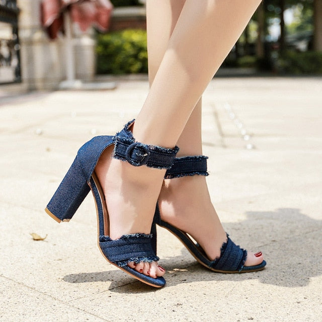 1c693131c4b3 Women Denim Sandals high heels ankle strap Buckle chunky heels Blue ...