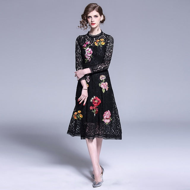 0c0f7c59d4f Women Dress New Fashion Summer Vintage Party Long Sleeve Midi Lace Black  Runway Bodycon Casual Office. Hover to zoom