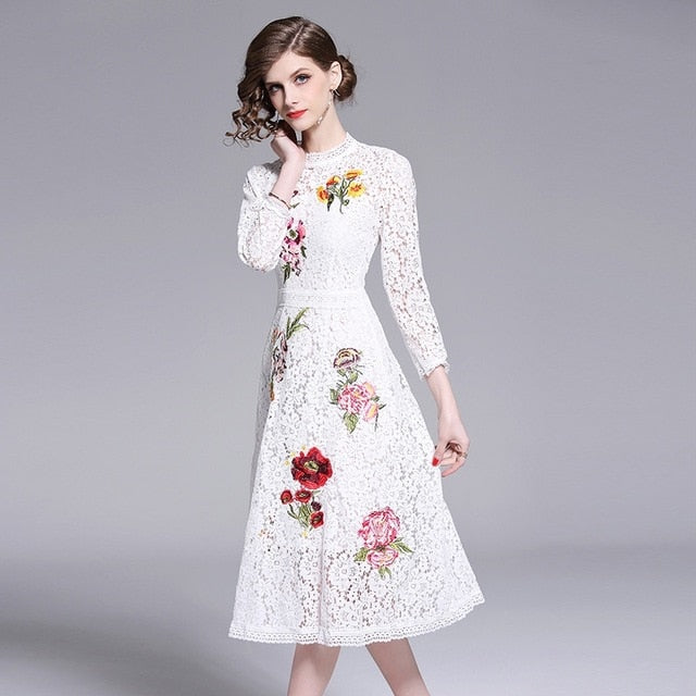 f819fab038ff1 Women Dress New Fashion Summer Vintage Party Long Sleeve Midi Lace White  Work Runway Bodycon Casual Office Dresses