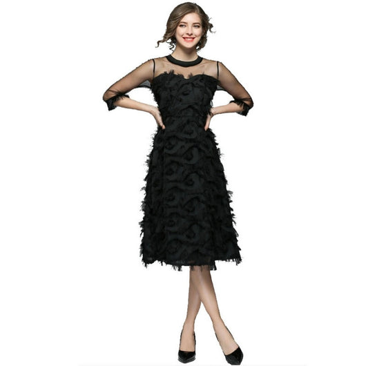Women Dress Sexy Vintage Fashion Slim Black Feather Dress A-Line Party Dress Sheer Hollow Empire Spring Elegant Style Vestidos