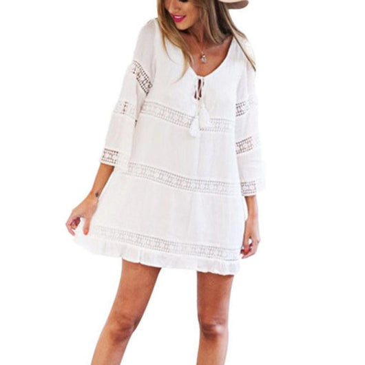 Women Elegant Beach sweet lace white Dress stylish sexy Hollow out casual Long Sleeve Summer Sundress vestidos Wholesale EY11