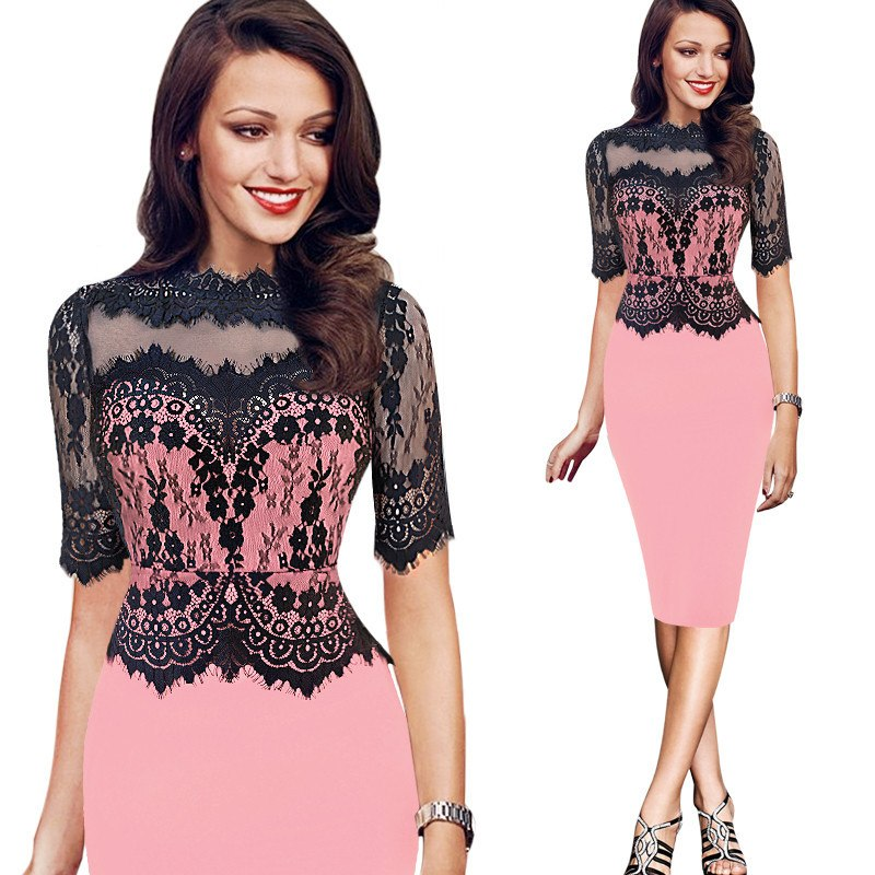 be442df33e8d Hover to zoom · Women Elegant Vintage Lace Peplum See Through Sleeve Casual  Party Special Occasion Sheath ...