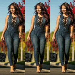 Women Fashion Black Denim Jumpsuit Sleeveless Bodysuit Women Backless Sexy Jeans Jumpsuit Macacao Feminino