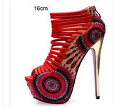 Women Fashion Cut Out Open Toe Sandals Retro Thick Platform Ultra High Heel Size 16cm High Heels Shoes
