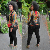 Women Fashion Dashiki Print Long Sleeve Coat Cool African Print Dashiki Short Casual Jacket Turn-down Collar Basic Jacket