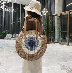 Women Fashion Round Straw Bags Handbags Female Handmade Woven Summer New Rattan Beach Bags Ladies Bohemian Shoulder Bags Totes