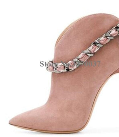 Women Fashion Style Pointed Toe Suede Leather Chain Strap Metal Stiletto Heel Short Boots Bowtie Pink Ankle Booties