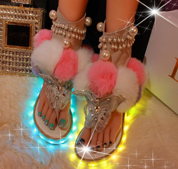 2960b83677da ... Mixed Color Fur Gladiator Sandal Summer Crystal Butterfly-knot Fashion.  Hover to zoom