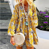 Women Flora Printed Long Sleeve V-neck Lace Patchwork Sleeve Above Knee Mini Dress Plus Size Bohemian Holiday Sweet Dress