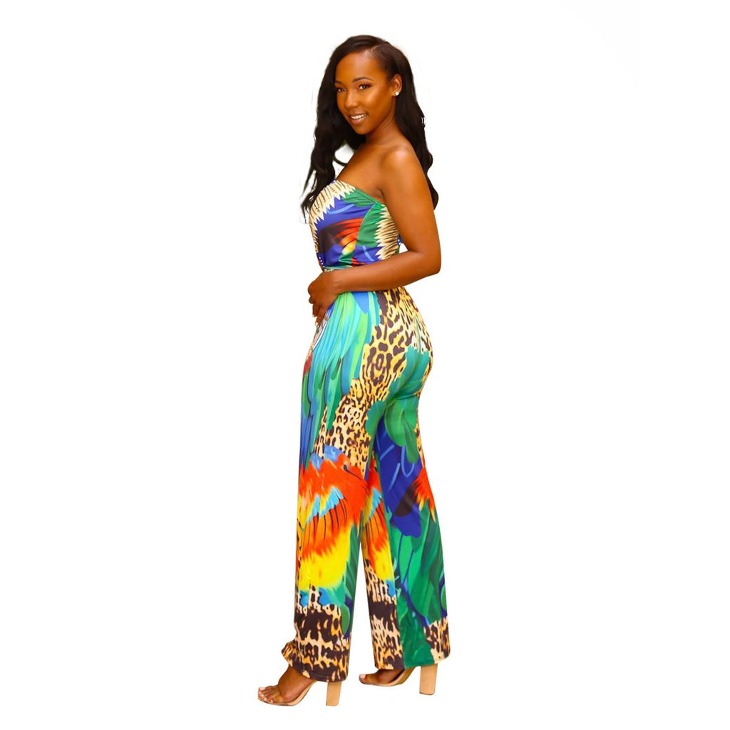 4662690f374 ... Women Floral Print Strapless Sexy Jumpsuits Summer Beach Overalls  Dashiki Vintage Rompers Backless Elegant Party Playsuits ...