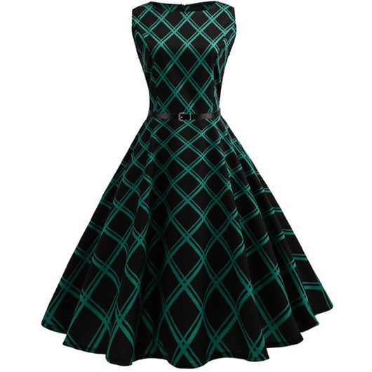 Women Green Black Plaid Dress Female Elegant Sleeveless Print Vintage 1950s 60s Party Casual Dresses Cute New Year Clothing EY11