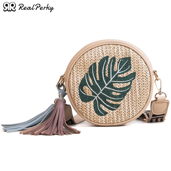 Women Handmade Woven Fashion Round Straw Bags Female Small Summer Circle Rattan Beach Bags Ladies Casual Shoulder Messenger Bags
