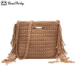 Women Handmade Woven Square Straw Bags Female Vintage Tassel Beach Bags Handbags Ladies Knitted Summer Shoulder Messenger Bags