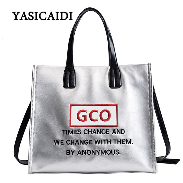 Women Large Capacity Handbags Ladies Letter Pu Leather Tote Messenger Female Shoulder Bags Brand Design Beach Top Handle Bag