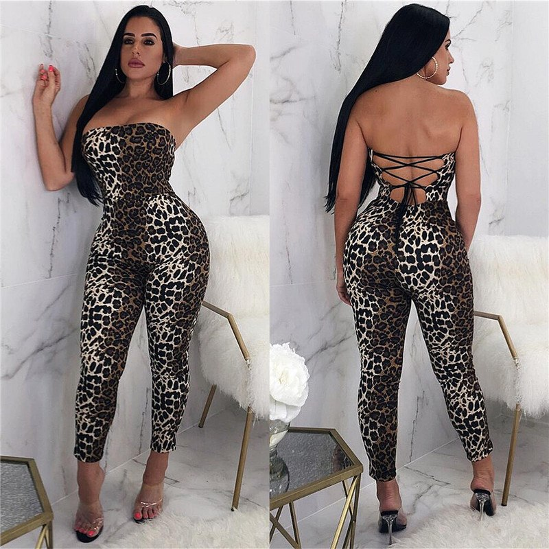 3128db5aefb6 ... Women Leopard Print Jumpsuit Sexy Bodysuit Sleeveless Strapless  Clubwear Overalls Backless Back Lace Up Bodycon Jumpsuit