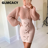 Women Long Lantern Sleeve High Waist Dress Elegant Bodycon Bandage Vintage Dress Autumn Winter Sexy Club Party Dress