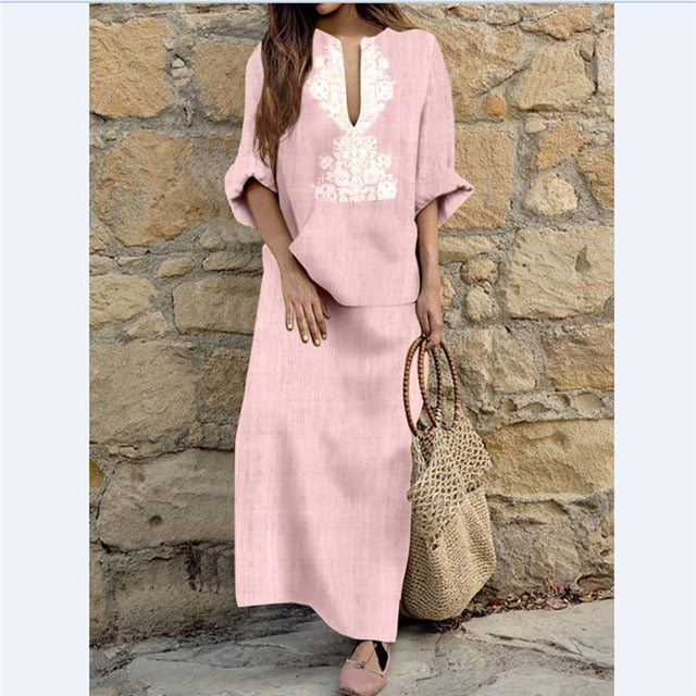 a231d918ac6 Hover to zoom · Women Long Maxi Dresses Bohemia V-neck Long Sleeve Ethnic  Autumn Beach Female Split Stylish