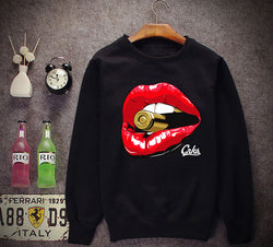 Women Long Sleeve Sweatshirts Pullovers Outerwear O Neck Big Red Lips Mouth 3D bullet Print Hoodies Crop Tops