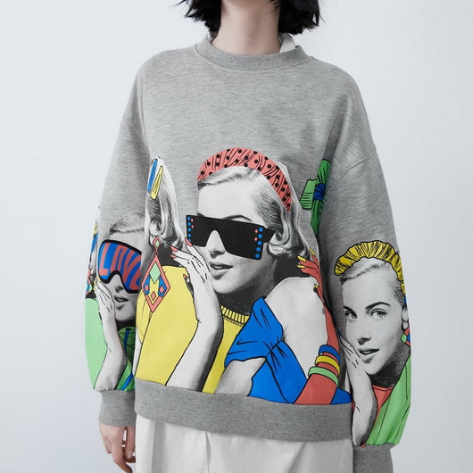 Women Loose Sweatshirt Autumn 2019 New Fashion Character Cartoon Girl Prints Wide Tops Modern Girl O-Neck Pullovers