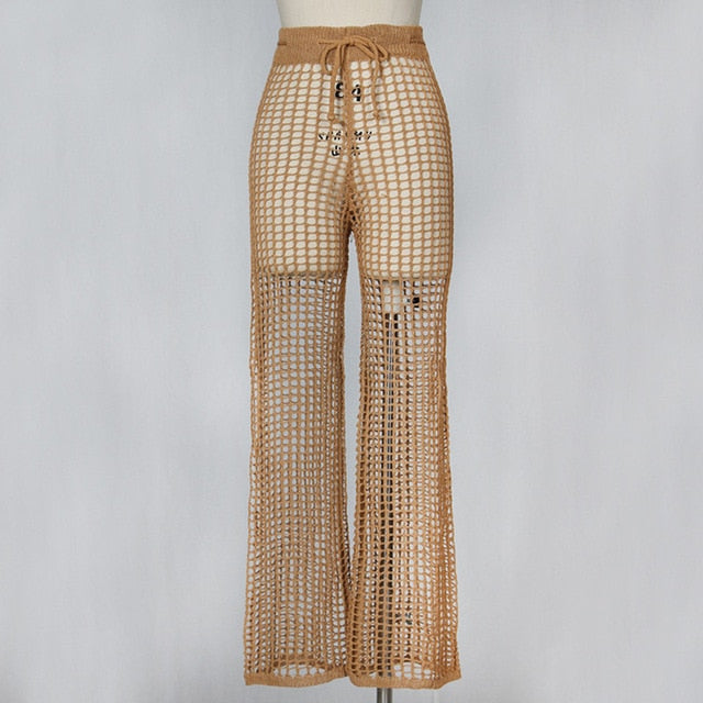 df87fc231e85c Women Mesh Hollow Out Knitted Drawstring Khaki Wide Leg Pants Sexy See- through Loose Holiday. Hover to zoom