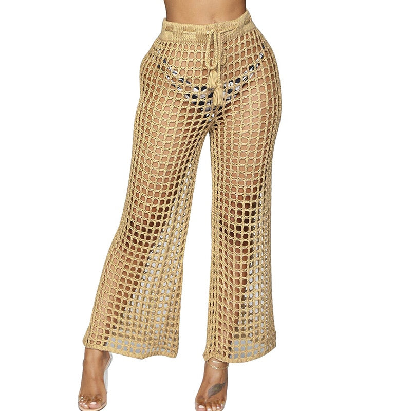 ad03ab2a1a Hover to zoom · Women Mesh Hollow Out Knitted Drawstring Khaki Wide Leg  Pants Sexy See-through Loose Holiday