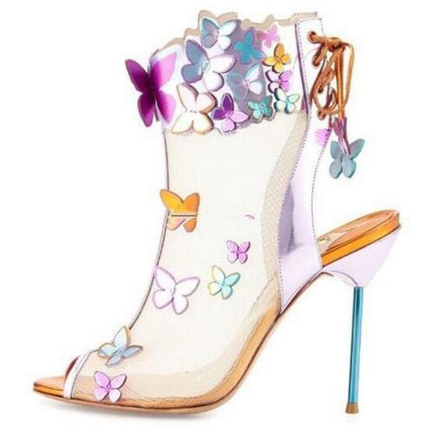 Women New Design Open Toe Back Lace-up 3D Butterfly Mesh Ankle Boots Cut-out Stiletto High Heel Booties Wedding Dress Shoes
