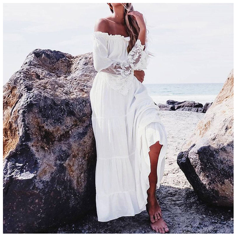 6ed27bbc83 Hover to zoom · Women New Sexy Lace Patchwork Maxi Long Dress Slash Neck  Off Shoulder Flare Sleeve Fashion Beach