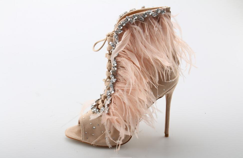 ... Women Pink Feather Ankle Boots Crystal Embellished Peep Toe Lace-up  Short Bootie Thin Heels 91e2f24e89c5