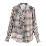 Women Plaid Shirt Autumn New Fashion Houndstooth Pattern Blouse Modern Lady Long Sleeve Shirts Streetwear Ruffles Ladies Tops