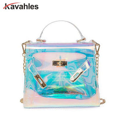 Women Plastic Messenger Handbag Transparent Laser Handbag Clutch Shoulder Crossbody Bag Chain Bag Clear Bag Evening Purse PP-877