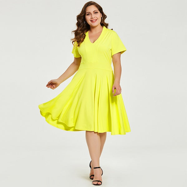 Women Plus Size Dress Elegant V Neck Yellow Short Sleeve Dress 2018 ...