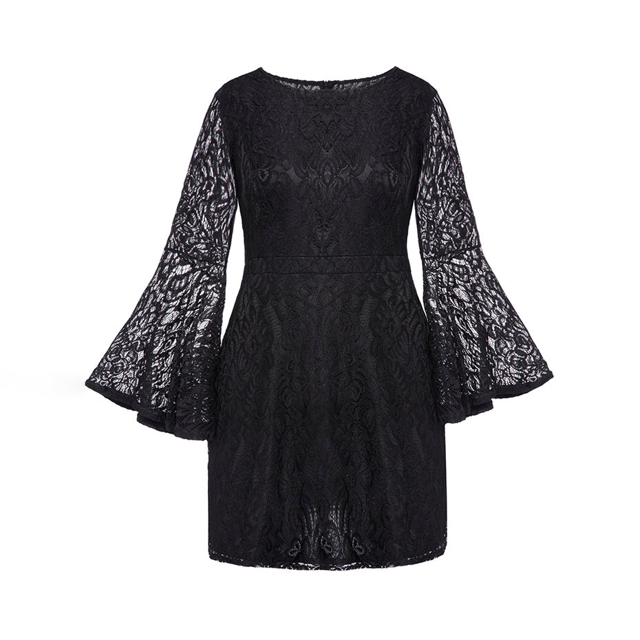 Women Plus Size Lace Dress Flare Sleeve Bodycon Round Neck Knee ...