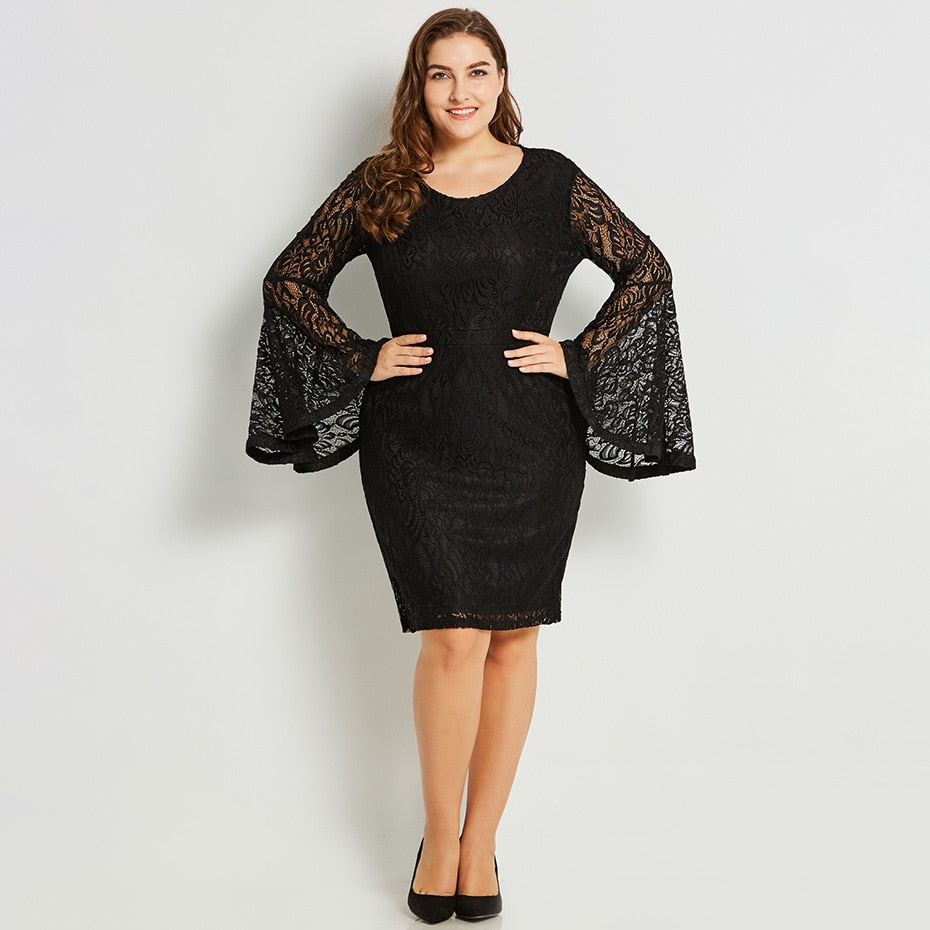 Women Plus Size Lace Dress Flare Sleeve Bodycon Round Neck Knee Length  Dress Black Big Size Office Party Elegant Pencil Dresses