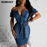 Women Plus Size Off Shoulder Button Wraped Denim Bodycon Dress Summer Short Sleeve Mini Dresses