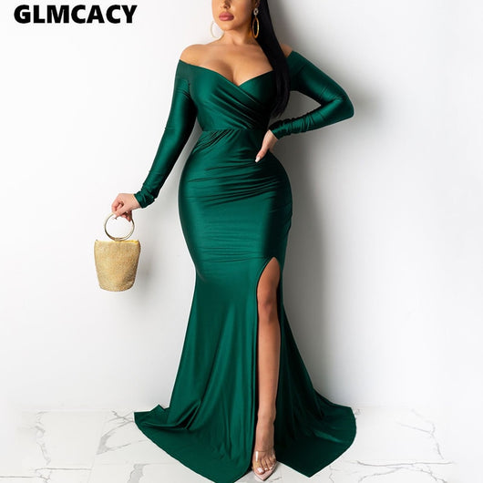 Women Plus Size Off Shoulder Long Sleeve Slit Bodycon Dress Maxi Solid Chic Sexy & Club Formal Evenig Party Vestido
