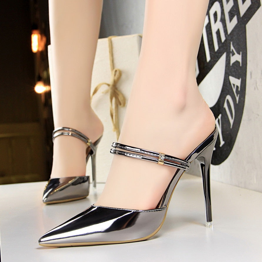 4c6a076dd87 Women Pumps Sexy High Heels Sandals Woman Wedding Party High Heels Gold  silver Shoes 2018 Summer New Ladies High-heeled Slippers