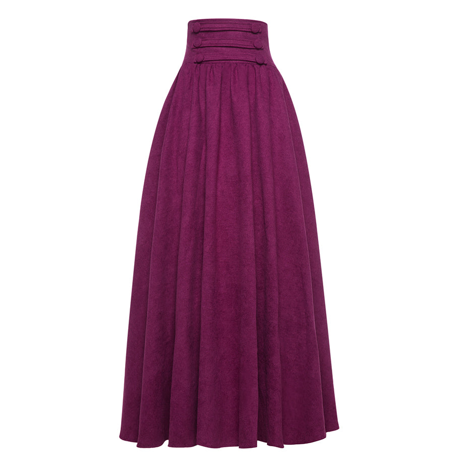Women Purple Long Maxi Skirts Vintage High Waist Lace Up Floor ...