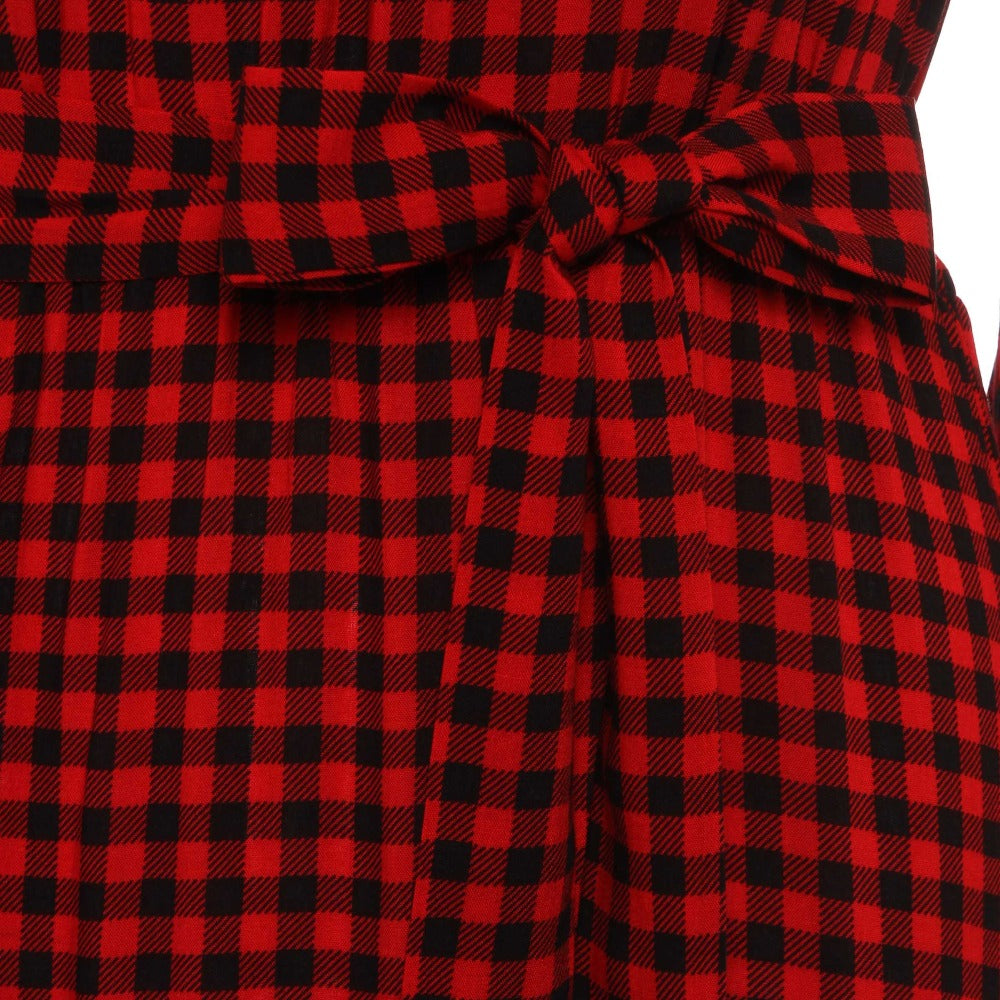 db3b51f95d39e Women Red Plaid Long Dress Chokers Neck Hollow Flare Sleeve Lace-Up Preppy  Cute Sweet Girl Party Street Maxi Dresses Vestidos Clocolor