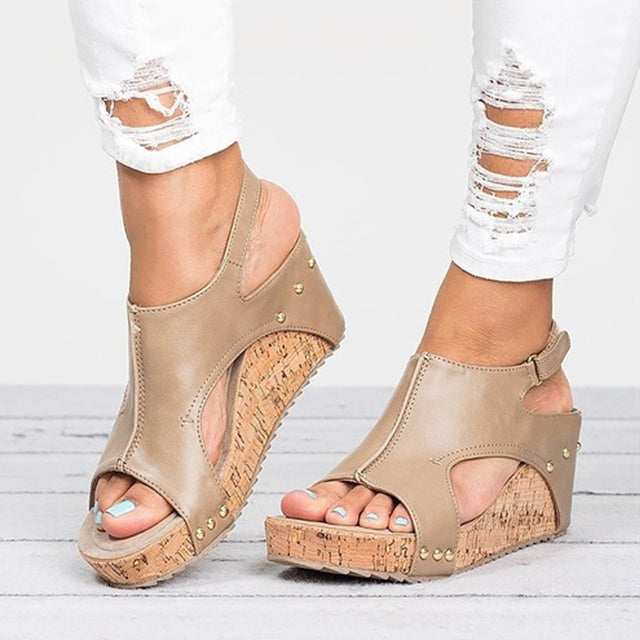 2d57e429aecf ... Women Sandals 2018 Platform Sandals Wedges Shoes For Women Heels  Sandalias Mujer Summer Shoes Leather Wedge ...
