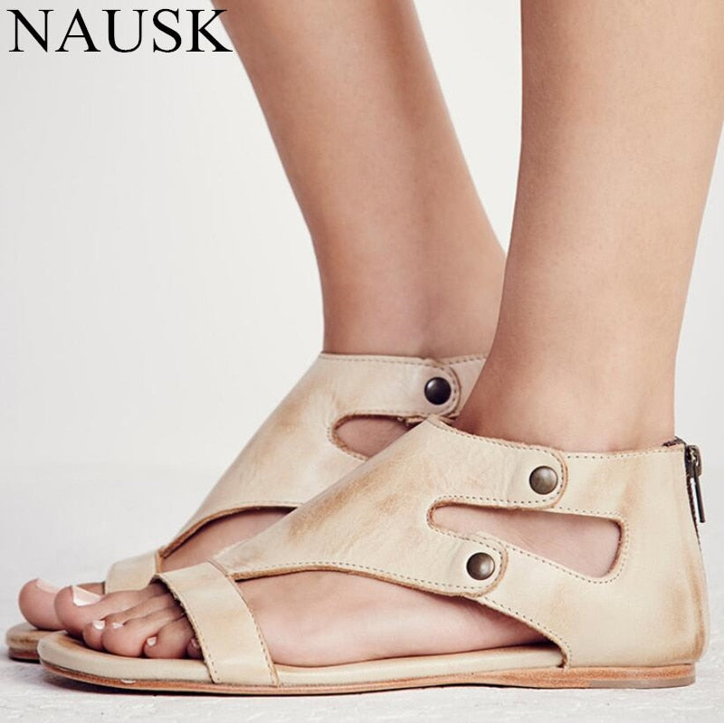 ed482df641c Hover to zoom · Women Sandals Soft Leather Gladiator Sandals Women Casual  Summer Shoes Female Flat Sandals Size ...
