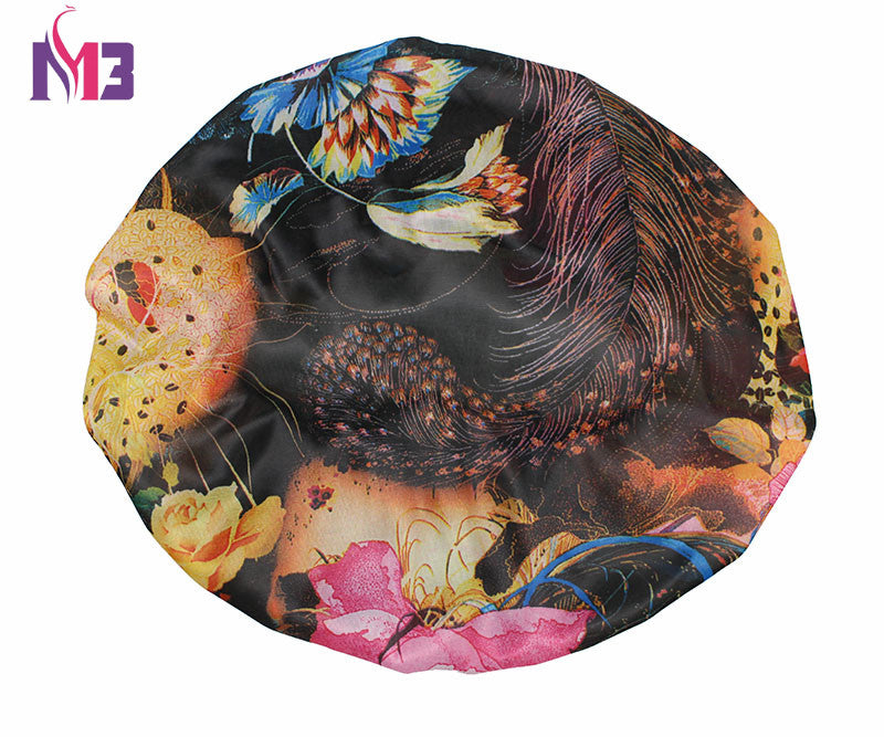 Women Satin Bonnet Printed Flower Sleep Cap Stretchy Band Lace Headwear  Turban Hat Hair Accessories Bonnet Cap
