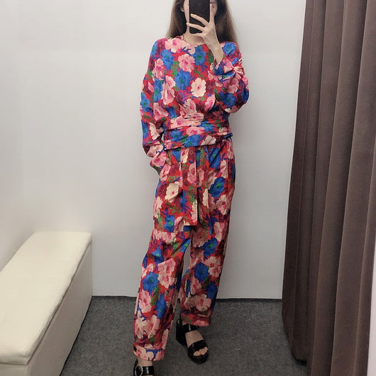 Women Sets Autumn 2019 New Fashion Vintage Floral Prints Blouse Shirt and Pants Modern Lady 2 Piece Sets