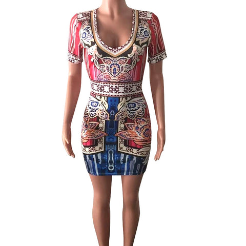Women Sexy Africa Print Deep V Dress Short Sleeve Skinny Elastic Mini Dress Ropa de mujer fashion Roupa feminina Vestido curto