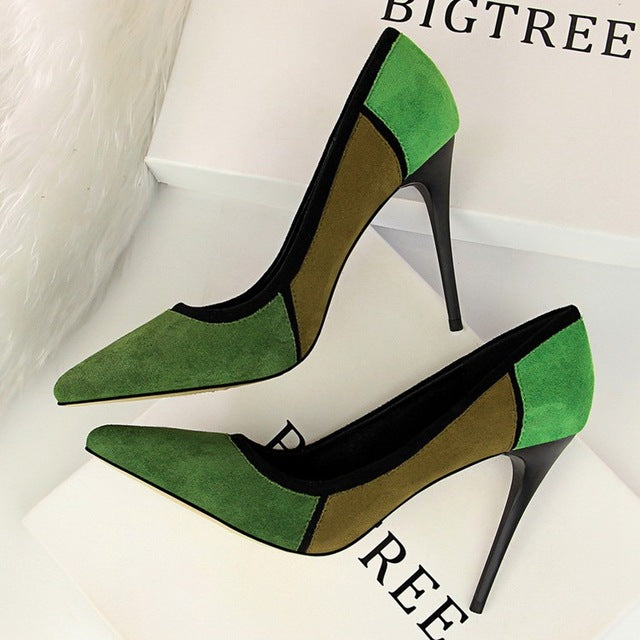 a24a95c32e ... Women Sexy Pointed Toe Pumps 2018 New Faux Suede Basic High Heels  10.5CM Fine With ...