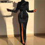 Women Sexy Splits Long Sleeve Maxi Dress High Neck Ruched Thigh Slit Evening Gown Dress Satin Evening Party Dresses