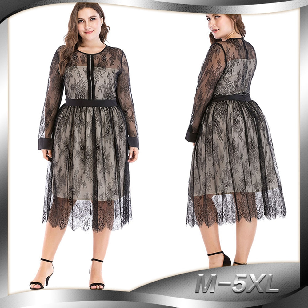 53d80625ff2ab Women Sheer Mesh Floral Lace Dress Plus Size 3XL 4XL 5XL Party Dress  Rhinestone Long Sleeve Dress Elegant Ladies clubwear Black