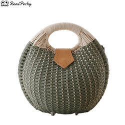 Women Shell Solid Color Straw Bags Handbags Female Bohemian Beach Vacation Bags Ladies Summer Handmade Woven Rattan Tote Bag