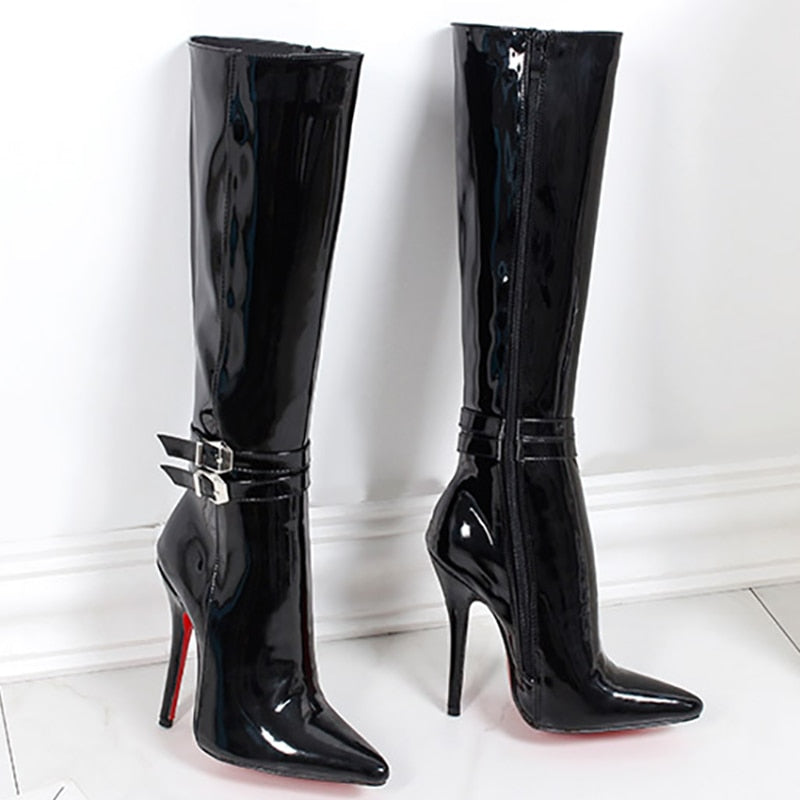 87dd9535bd5 Women Shoes Boots High Heels Red Bottom Knee High Boots Patent Leather  Fashion Fenty Beauty Zip Gothic Ladies Boots Plus Size 45