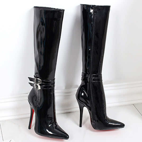 promo code 91aff c6cc2 Women Shoes Boots High Heels Red Bottom Knee High Boots ...