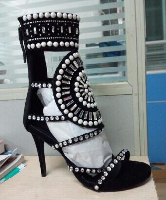 Women String Bead High Heel Sandals Cut-out Pearls Crystal Strappy Sandals Dress Shoes Lady Cut-out Gladiator Sandals Boots